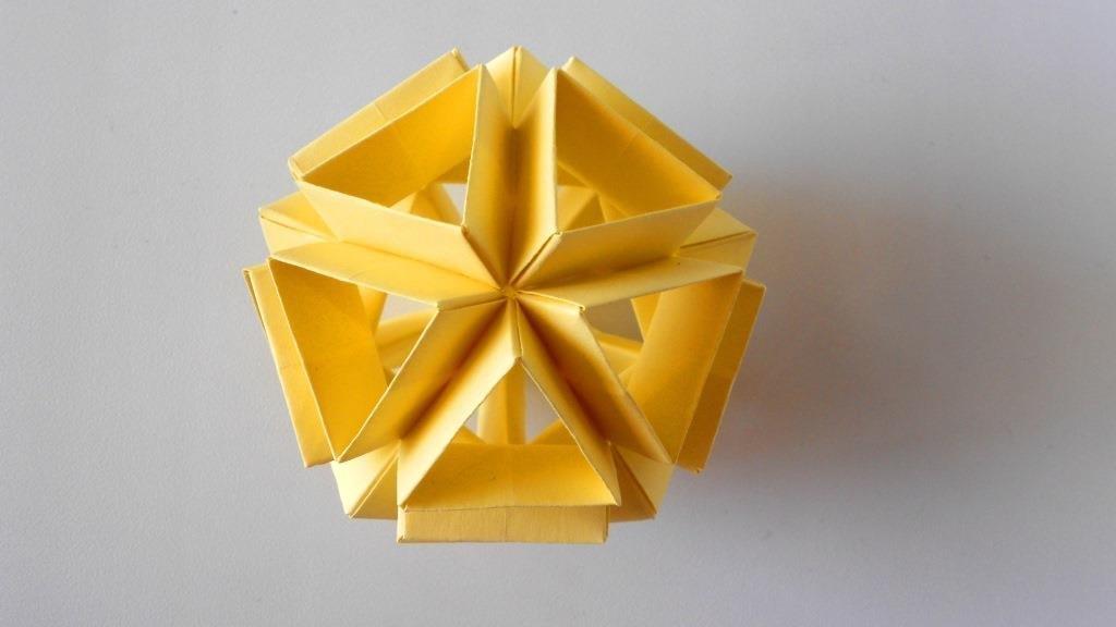 Оригами икосаэдр из бумаги. Модульный шар кусудама