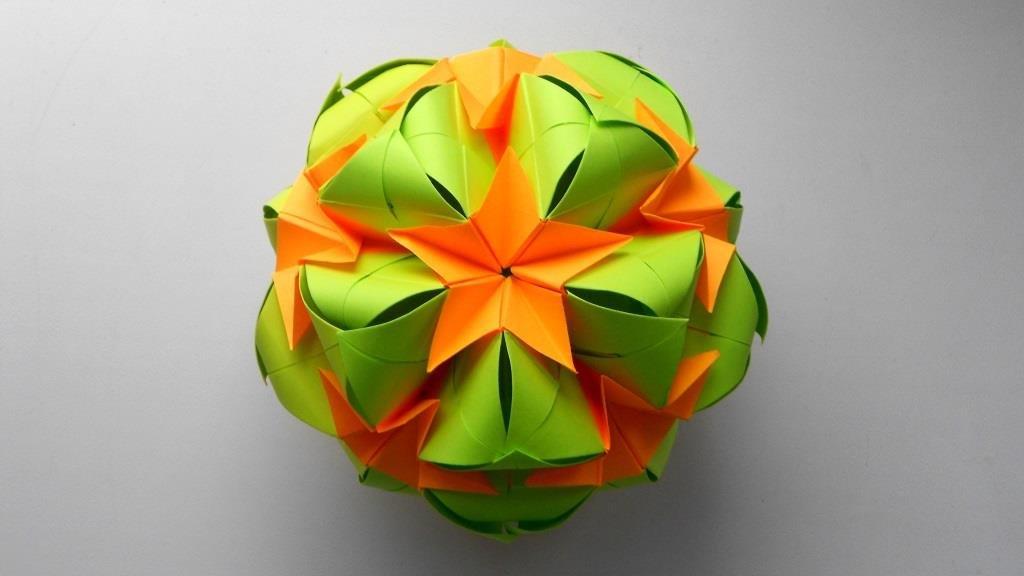 Кусудама Sweet Spring Новогоднее украшение из бумаги оригами